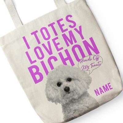 Personalised Shopping Bag BICHON FRISE DOG Canvas Grocery Tote Gift DT