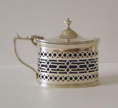 A Fine Quality Antique Heavy Sterling Silver Mustard Pot London 1908