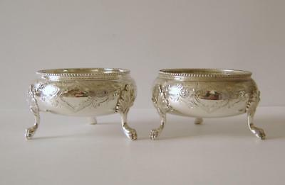 Pair Of Fine Quality Antique Large & Heavy Sterling Silver Salt Pots London 1860
