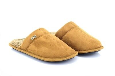 Mens Cool Warm Indoor Microsoft Slippers Slip On Furlined Mules Tan