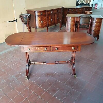 Bevan Funnell Flamed Mahogany Writing Table/sofa/window/lounge/serving Table
