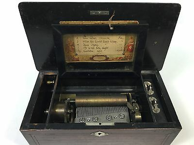 Antique Vintage Wood 6 Airs 4 3/8 Cylinder MUSIC BOX c1800-1885 Works A85