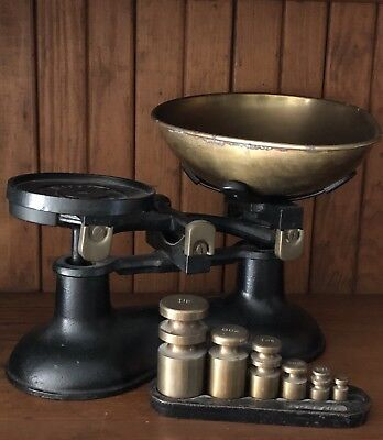 Vintage Victor Scale Cast Iron With Brass Weights & Brass Pan Made In England