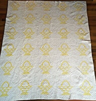 Early 1900s BASKET QUILT HandQuilted 10+SPI ANTIQUE w/history 76x92 Janns Quilts