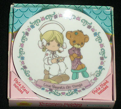 """1996 Home For The Holidays Precious Moments 4 1/4"""" Plate Love Beareth All Things"""