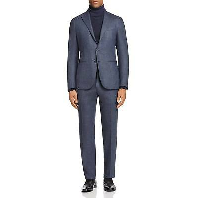 $4495 EIDOS Mens Classic Fit Wool Suit Blue Twill JACKET PANTS Italy US 38 EU 48