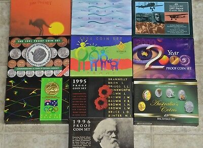10 Australia Proof Sets, Royal Australian Mint, Original Government Packaging