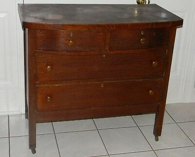 Antique Solid Oak Bow Front 4 Drawer Dresser Chest Of Drawers All Original