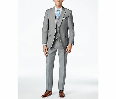 $750 TOMMY HILFIGER men GRAY WOOL FIT 2 BUTTON PIECE SUIT JACKET COAT PANTS 36 S