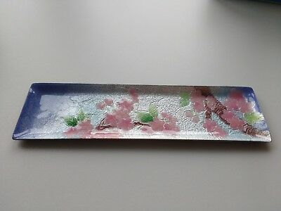 Cloisonne Pen Tray Japanese Japan Cherry Blossom Handmade Boxed