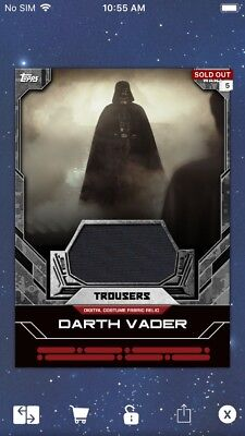 Topps Star Wars Digital Card Trader Darth Vader Trousers Costume Relic Insert