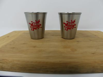 2pcs Shot Glasses Stainless Steel Collage ~Jam After Your Cram~ Party Barware