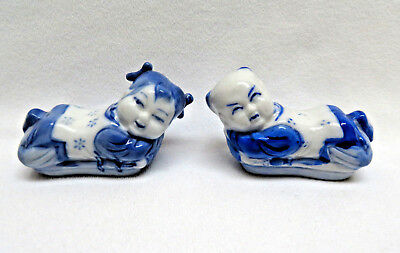 Vintage Pair of Chinese Blue & White Porcelain Chopstick Rests ~ Boy & Girl
