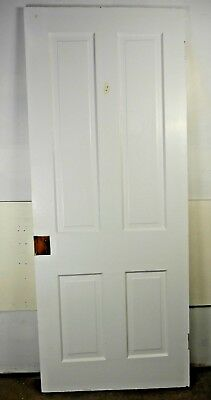 "Antique Vintage 4 Panel Interior Door 77-7/8"" X 31-3/4"" X 1-1/8"" Thick 1890's J4"