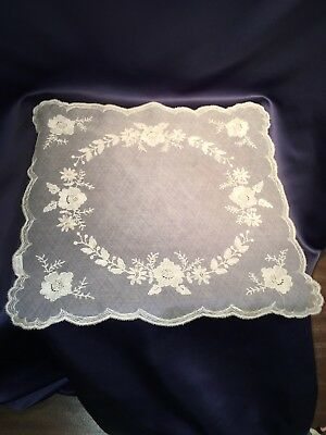 Antique Hand Made French Needle Lace Handkerchief Table Runner W Tag Cream Silk