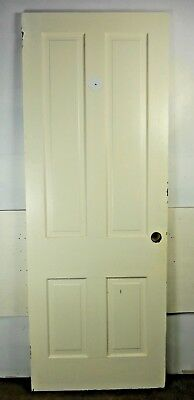 "Antique Vintage 4 Panel Interior Door 80"" X 29-3/4"" X 1-1/8"" Thick 1890's G4"