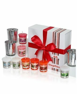 Exclusive Scented Candle Gift Set by The Gift Box Containing 8 candles 3 holders