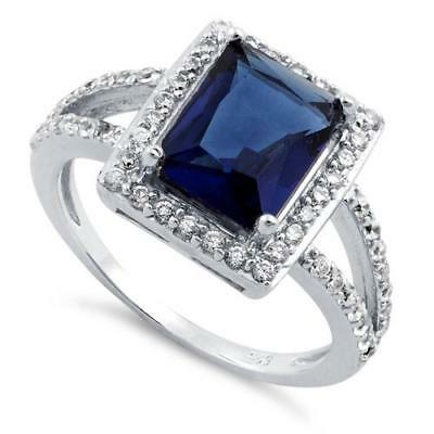 Melchior Jewellery Sterling Silver Blue SAPPHIRE Rectangular Halo CZ Ring Boxed