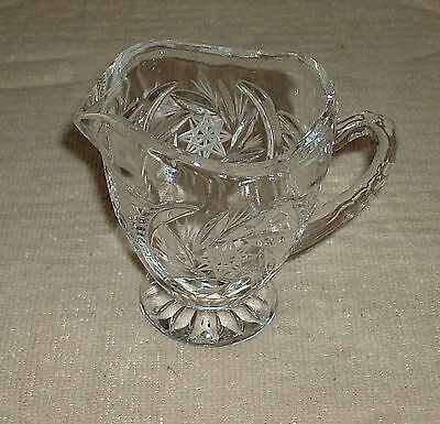 Clear Crystal Glass Creamer Serving Dish Etched STAR OF DAVID ~  BEAUTIFULL