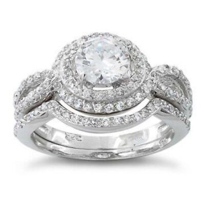 Melchior Jewellery Sterling Silver Halo CZ WEDDING Bridal Set Engagement Ring