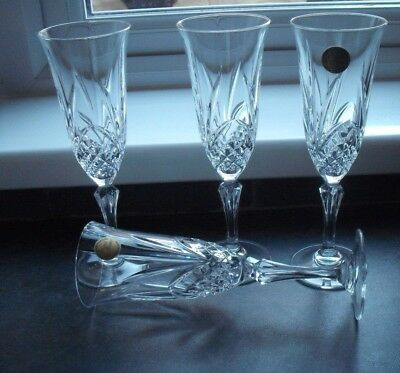 4 cut glass crystal champagne flutes, Cristal d'Arques, France