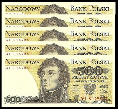 Poland 500 Zlotych 1982 P 145 Unc (5 Notes)