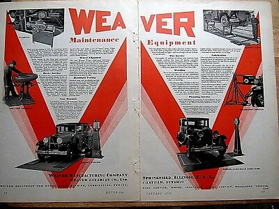 1930 Weaver Automotive Maintenance Equipment print ad 20 x 13 inches