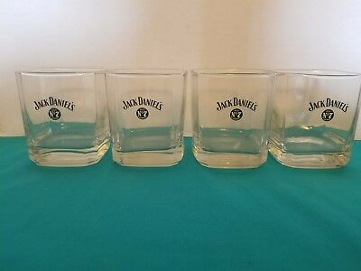 Jack Daniel's Old No. 7 Black Logo Set of 4 Square Bottom Rocks Glasses