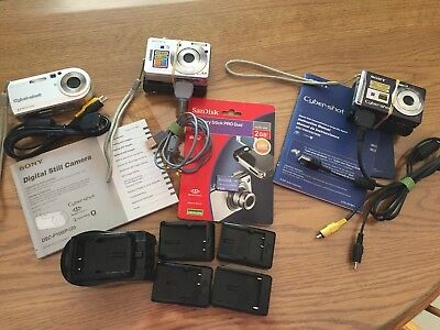 LOT of 3 SONY Digital Cameras, chargers, batteries, cables, travel charger, etc