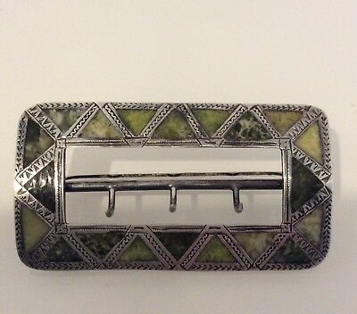 A Antique Silver Buckle With Marble Inlay ***30.05 Grams***