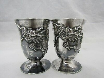 Antique Tehling Chinese Sterling Silver Dragon Repousee Shot Cup Lot of 2