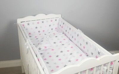 luxury ALL ROUND BUMPER PINK STARS COVERS 4 SIDES COT /COT BED 360 or 420 CM