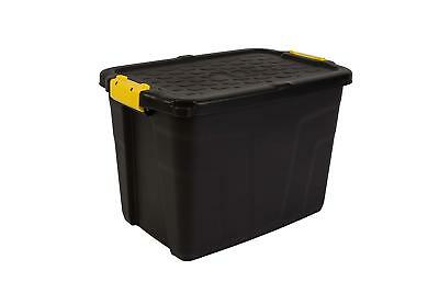 CEP 60 Litres Heavy Duty Strata Storage Box Black/Yellow 60 X 40 X 40 Cm Padlock