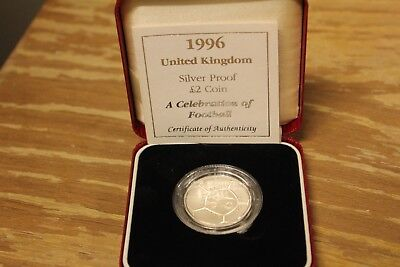1996 United Kingdom 2 Pounds Silver Proof Piedfort Coin with COA & Box