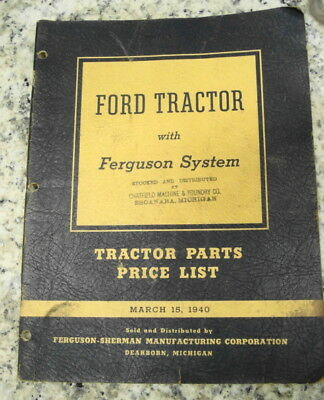 1940 Ford Tractor With Ferguson System Tractor Parts Price List/Ferguson 9N