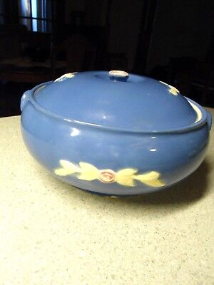 Vintage Round Blue Coors Rosebud French Casserole with Lid