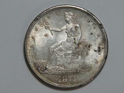 1874-CC Trade Dollar - Chopmarks - 90% Silver Carson City