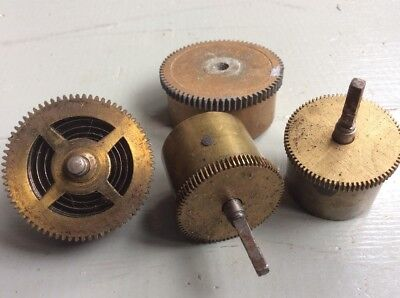 4x Vintage Mixed Brass Clock Parts COGS Spares Repairs Art Craft Steampunk