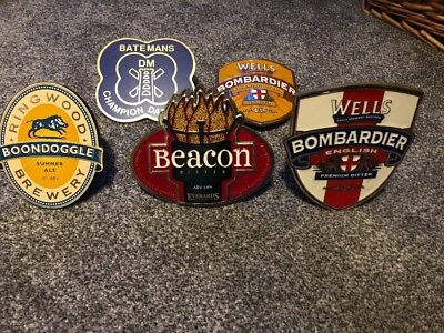 5 REAL ALE BEER PUMP CLIP SIGN Young's Ringwood Wells Batemans Everards