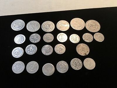 24 vintage aluminum play money coins play dough chicken feed wooden nickel