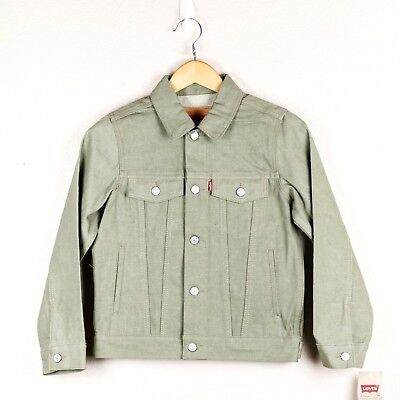 Levi's Youth Big Boys Denim Trucker Jacket Solid Olive Green Button Up Coat NWT