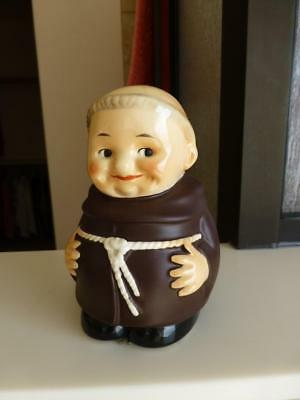 Cute Older Goebel Friar Tuck Piggy Bank w Key Excellent Condition Never Used