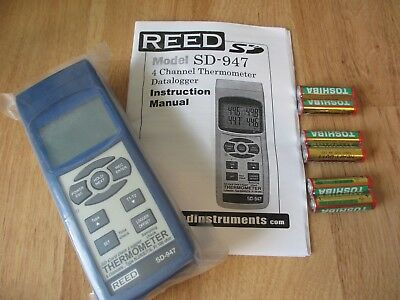 REED INSTRUMENTS SD-947 4 Channel Thermocouple Data Logger, K, J, R, S, E, T RTD
