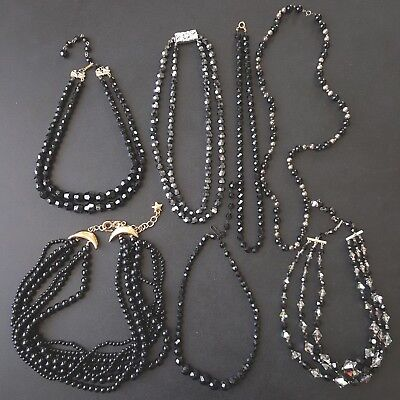 7pc HIGH QUALITY Vintage Black Glass AB Crystal Bead Necklace Lot Pretty! OO2