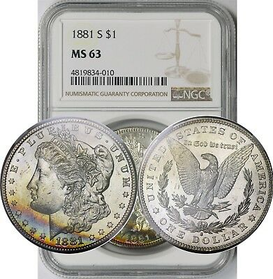 1881-S $1 NGC MS 63 (Rainbow Crescent Toning) Morgan Silver Dollar
