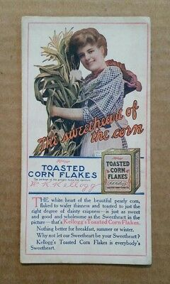 Kellogg's Toasted Corn Flakes Cereal,Advertising Ink Blotter,1910's