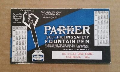 Parker Self-Filling Safety Fountain Pen,Calendar/Ink Blotter,1916