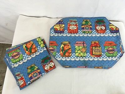 Vtg Hand Made Country Farm House Produce Canning Napkins Set 4 Cloth Placemats