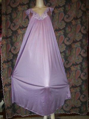 Vintage Miss Elaine Purple Nylon Tricot Smock Nighty Gown Nightgown Lingerie