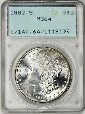 1882-S  MORGAN SILVER DOLLAR - PCGS MS64, RATTLER OGH 1st GEN - NEAR ALL WHITE